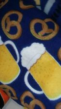 Fleece fabric no sew blanket - Beer & Pretzels