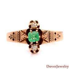 Antique 0.20ct Emerald Pearl 14K Rose Gold Ring NR