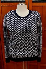 NEW Equipment Femme Blue Peacoat White Cashmere Crewneck Sweater Knit Top L $399