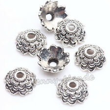 100XAntique Silver Flower Spacer Loose Bead Caps Jewelry Making DIY Craft 8*3mm