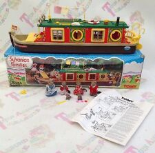 Sylvanian Families Tomy Vintage Canal Boat And Vandyke Otter Family RARE & Boxed