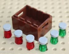Lego Reddish Brown Crate Container with Bottles NEW!!!