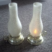 """Set of 2 """"Flickering Light"""" Table Lamps w/ Hurricane Globes"""