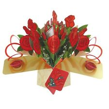 Bunch Red Roses Pop-Up Greeting Card Original Second Nature 3D Pop Up Cards