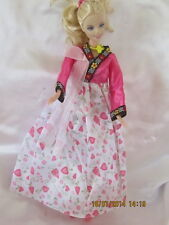 Lovely Korean Outfit for Barbie with Shoes,Hair Ribbon & Jewellery PLUS Surprise