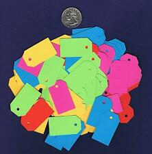 100 Small Blank Hang Tags - Bright Neon - Gift Handmade Price Cardstock Paper