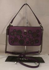 NWT COACH Nolita 24 Willow Floral AUBERGINE Leather Shoulder Xbody BAG 55799