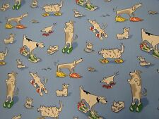 """SANDERSON CURTAIN FABRIC DESIGN """"Dogs in Clogs"""" 3.7 METRES BLUE ABRACAZOO COLL"""