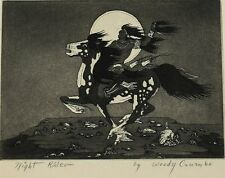 Woody Woodrow Crumbo American 1912-1989 Etching Night Rider Signed