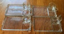 4 Sets - Glass Luncheon Snack Trays Bubble Candlewick Boopie Anchor Hocking