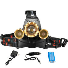 HOT ZOOM 30000 LUMENS 3X XML T6 LED Headlamp Head Light Torch Lamp 18650 Battery