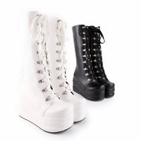 Ladies Mid Calf Knee High Boots Lace up Platform Goth Punk Combat Military Boots