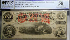 State Of Missouri $1 Defence Bond Pcgs Au58 Remainder Obsolete Currency Note