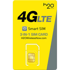 H2O Wireless TRIPLE Sim Card Including PreLoaded $30 First Month Free Prefunded