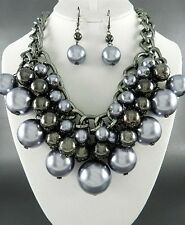 Burnish Gun Metal Link Grey Faux Pearl Chunky Necklace Earring Set