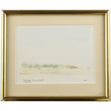 Original Modern Landscape Watercolour Painting Seaview Isle of Wight Solent