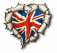 Ripped Torn Metal Look HEART Union Jack British Flag vinyl car sticker decal