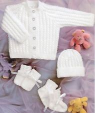 Beautiful Babys Cardigan Hat Mittens Bootees 4 Ply Knitting Pattern