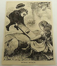 1878 magazine engraving ~ THE SEE-SAW ~ boy and girl play together on a see-saw