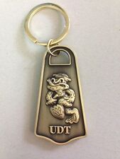 U.S. NAVY Frogman  Underwater Demolition Team (UDT) Brass Plated Key Chain Ring