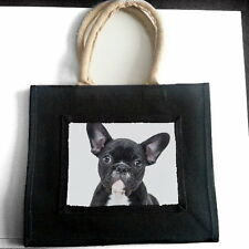 FRENCH BULLDOG PUPPY DOG JUTE SHOPPING BAG PET LOVER BREED ANIMAL PHOTO GIFT