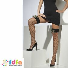 BLACK DIAMOND NET HOLD UPS STOCKINGS WITH CAMO BOWS ladies womens hosiery