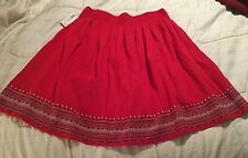 NWT Old Navy Red Cotton Pull On Boho Style Skirt, Size Medium