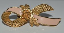 AVON GoldTone Pink Breast Cancer Awareness Pin W/ Rose Brooch Lapel Tie Mother's