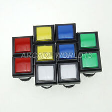 10x 33mm Square LED Illuminated Push Buttons With Micro Switch For Arcade Games