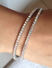2 Silver Rhinestone Fashion Bangle Bracelet Set