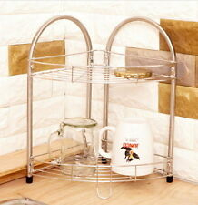 2 Levels Corner Shelf Rack Stainless Steel Only 2 Levels Available Kitchen