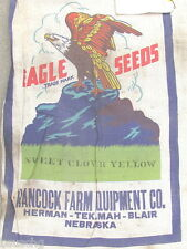 1956 EAGLE TRADE MARK SEED SACK - HANCOCK FARM EQUIPMENT CO HERMAN TEKAMAH NEBR