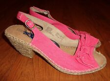 womens Croft & Barrow shoes 9M pink heels open heel and toe cushioned sole NEW