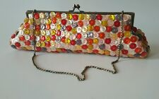 Aldo Button Covered Baguette Frame Clutch Chain Handle Party Fun Pretty Girlie