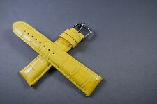 20mm Yellow 100% Genuine Leather Watch Band,Strap,Interchangeable,Quick Release