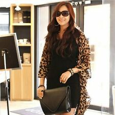 Women Chiffon Cardigan Leopard Print Batwing Sleeve Summer Casual Cover Shawl