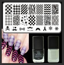 Classic Grids Pattern Nail Stamping DIY Set Black White Stamping Polish Manicure