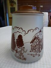 Vintage Hansell & Gretel Frosted Glass Cookie Jar signed Pokee 8 1/2""