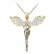 Guardian Angel Crystals Pendant Necklace Silver Gold Plated Swarovski Elements