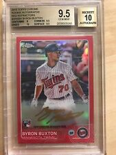 2015 Topps Chrome AUTO Red Refractor Byron Buxton Autograph #/5 BGS 9.5/10