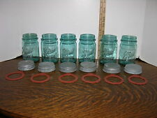 6 Vintage 1910~1923 BALL PERFECT MASON BLUE PINT Canning Jars ~ Zinc Cap