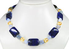Lapislazuli Chain with Aquamarine and Shell pearls