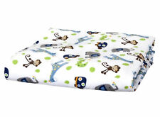FULL CRIB SIZE - Tiddliwinks - Safari Blue / Green Animals FITTED SHEET