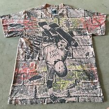 VTG 80s 90s SKATEBOARD All Over SKATE Print T Shirt NEON Made USA Men S Youth XL