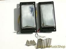 2 vintage chrome covered guitar humbucker pickups plain chrome + fittings new