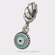 Authentic Pandora Sterling Silver Dangle Blue Enamel Watchful Eye Bead 790529EB