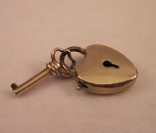 ANTIQUE 14K GOLD FILLED WATCH FOB HEART LOCK & KEY CHARM SIGNED 14K GF MANTRA