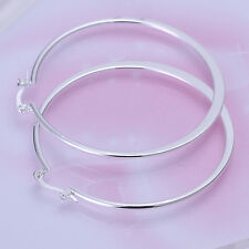 925 Sterling Silver Korean Style Large Light Weight Shiny Flat Hoop Earring A8