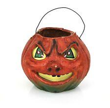 """Vintage 1940/50s Halloween Papier Mache Orange Pumpkin Jack-O'Lantern 5-1/2"""""""
