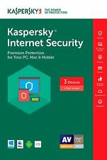 KASPERSKY INTERNET SECURITY 2017 3PC/1YEAR / NEW CODES / ANTIVIRUS / UNIQUE